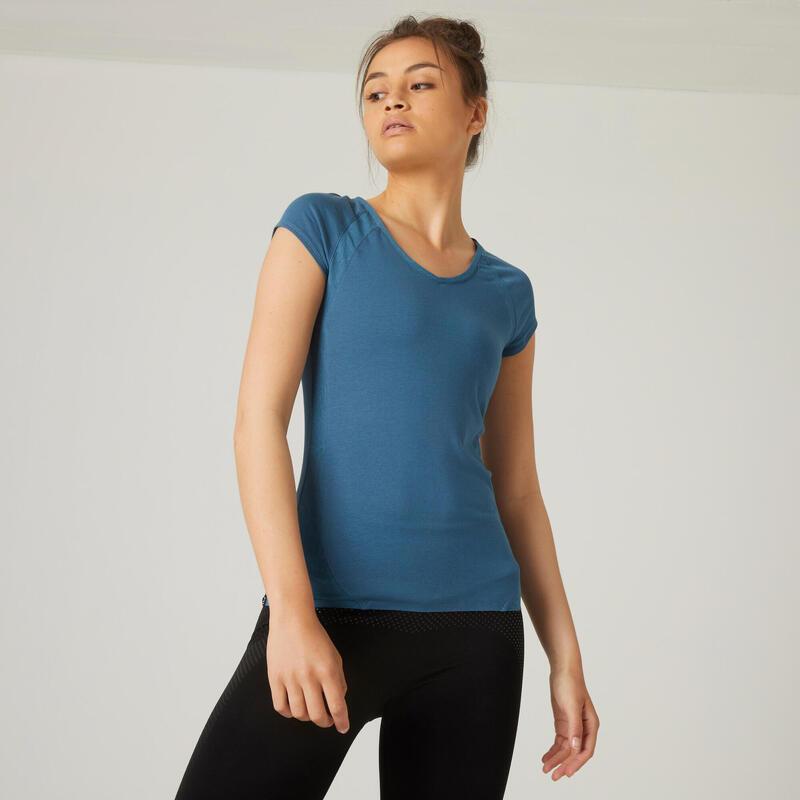 Stretch T-shirt voor fitness slim fit katoen met mesh turquoise