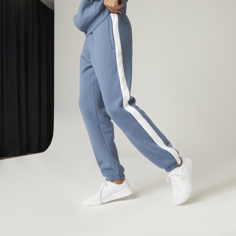 Fleecy Fitness Jogging Bottoms with Side Stripes