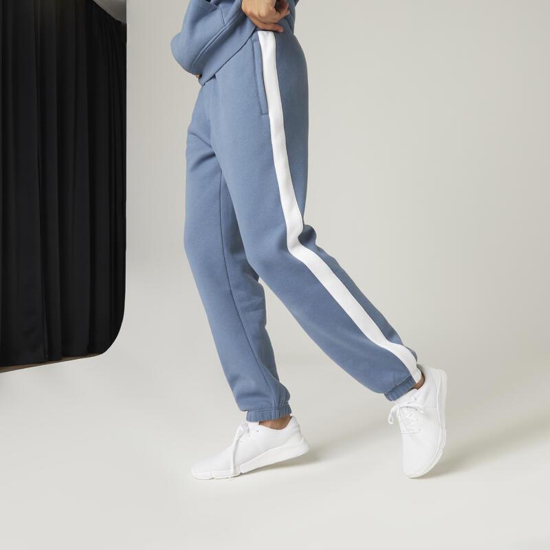 Molton joggingbroek voor fitness strepen opzij