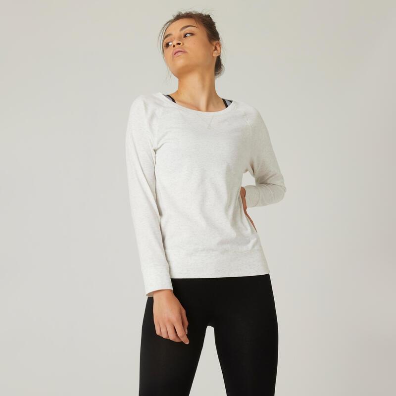 T-shirt fitness manches longues droit coton extensible col rond femme blanc