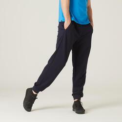Pantaloni uomo fitness 500 blu