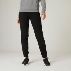 女款標準慢跑長褲500 - 黑色