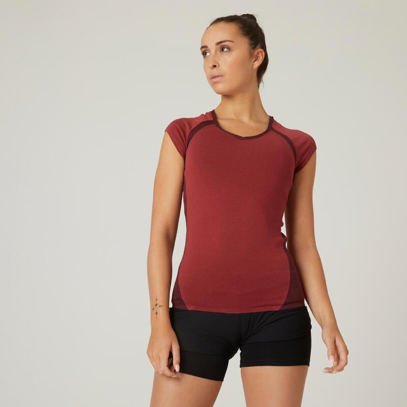 T-shirt fitness manches courtes slim coton extensible col en V femme bordeaux