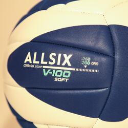 BALLON DE VOLLEY-BALL V100 SOFT 260-280G BLEU/BLANC A PARTIR DE 15 ANS
