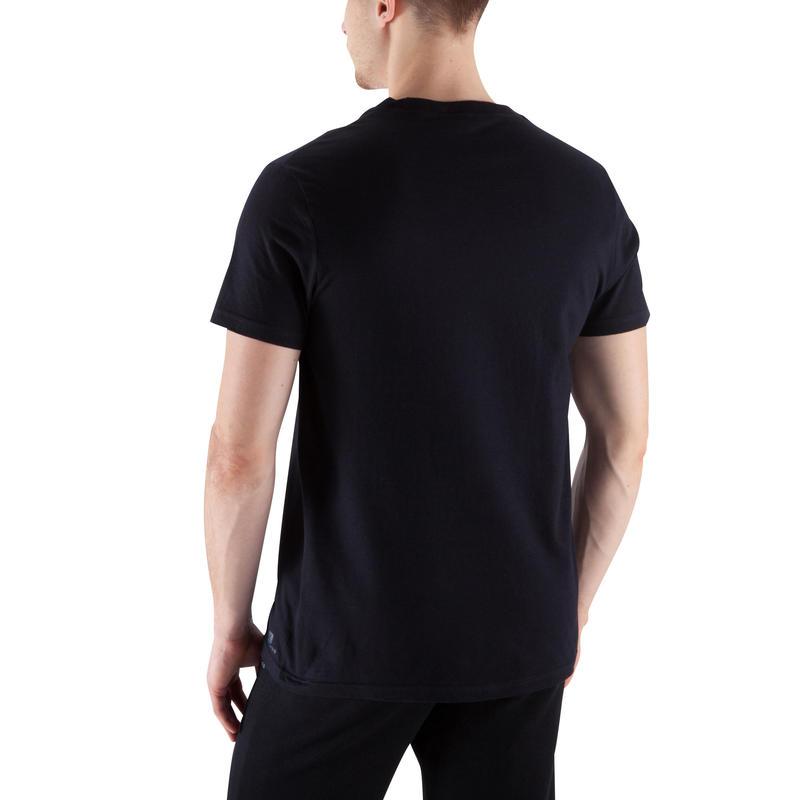 เสื้อยืดกายบริหารสำหรับผู้ชายรุ่น Sportee 100 (สีดำ)