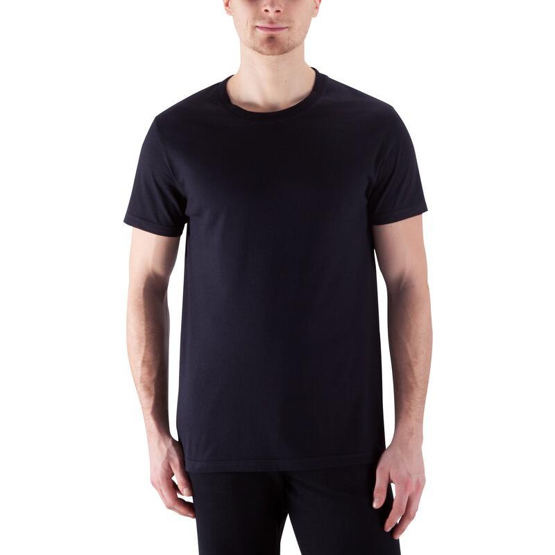 T-Shirt 100% Coton Fitness Sportee Noir