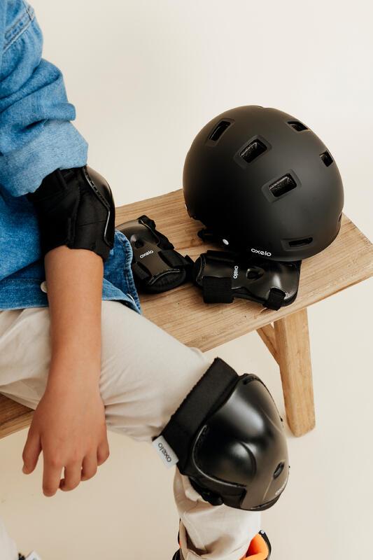 Kids' Set of Inline Skate Protectors Play - Black
