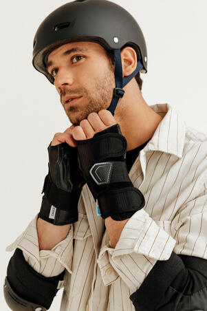 Adult 2 x 3-Piece Inline Skate Protection Set FIT500 - Black/Grey