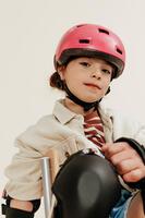Casque enfant roller skateboard trottinette B100 rose