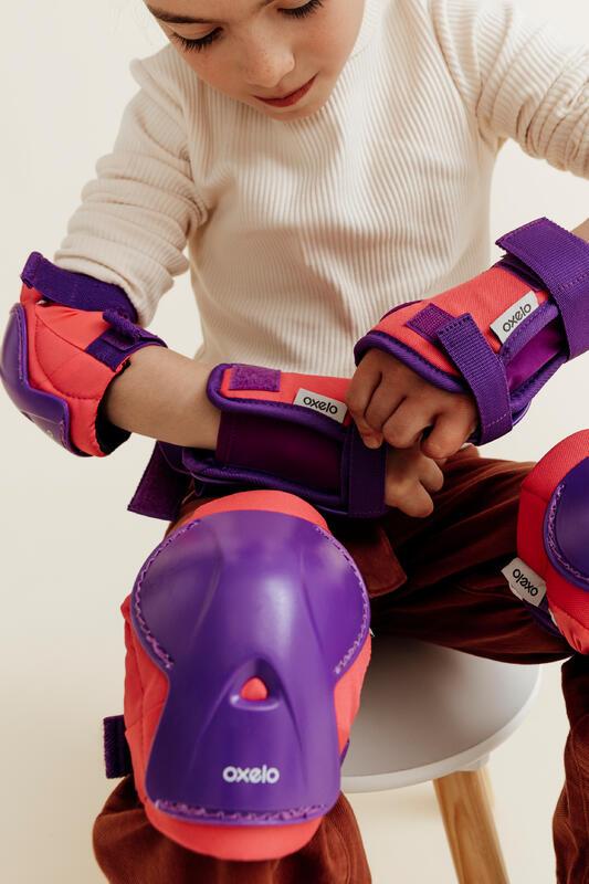 ชุดสนับป้องกันสำหรับเด็กเล่นอินไลน์สเก็ตรุ่น Play (สีชมพู)