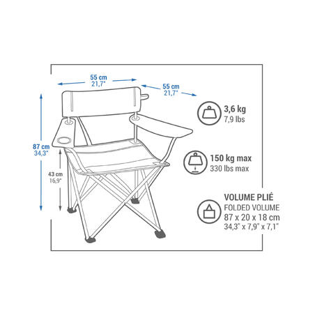 Camping/ Outdoor Large Foldable Chair Basic Xl - Quechua