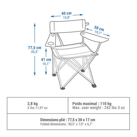 Camping/ Outdoor Foldable Chair (Easy Transport 2.8Kg) - Quechua