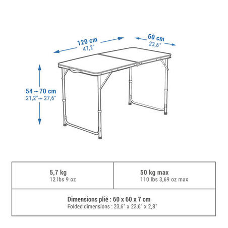 FOLDING CAMPING TABLE - 4 TO 6 PEOPLE