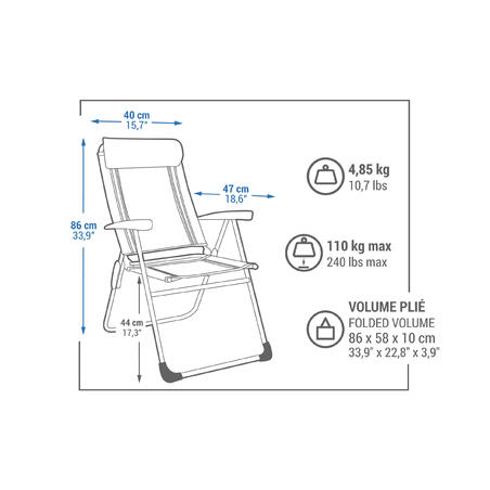Camping/ Outdoor Foldable Chair (Reclinable & Comfortable) - Quechua
