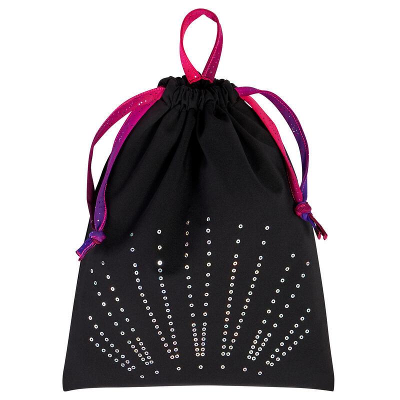 Gymtas voor damesturnen zwart met lovertjes