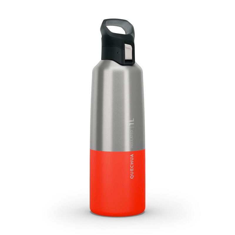 Isoleerfles voor wandelen en trekking MH500 roestvrij staal 1 l rood