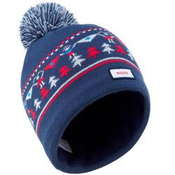 兒童提花編織滑雪帽 - 軍藍色