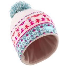 Berretto sci bambina JACQUARD rosa turchese