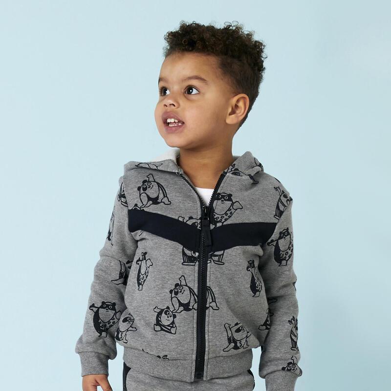 Warm vest voor kleutergym grijs met opdruk