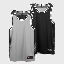 男款無袖雙面籃球T恤/運動衫T500R - 灰黑配色