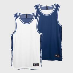 男款雙面T恤T500R - 純白配海軍藍