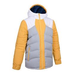 男款兒童保暖外套 SKI-P 500 黃灰