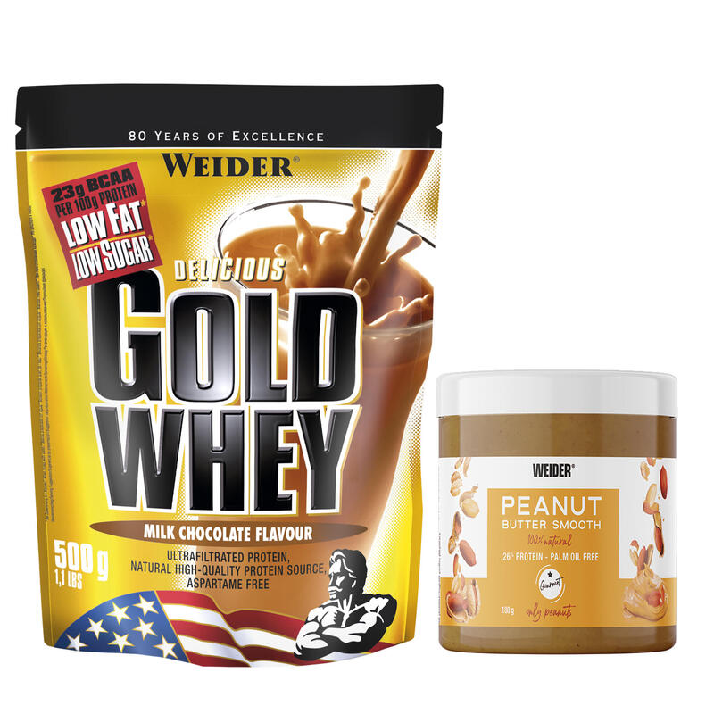 Proteína GOLD WHEY Chocolate 500 g + mantequilla de cacahuete 180 g