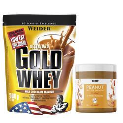 Eiwitten Gold Whey chocolade 500 g + pindakaas 180 g