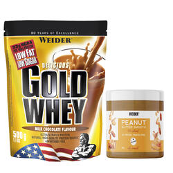 Proteína GOLD WHEY Chocolate 500 g + Manteiga de Amendoim 180 g