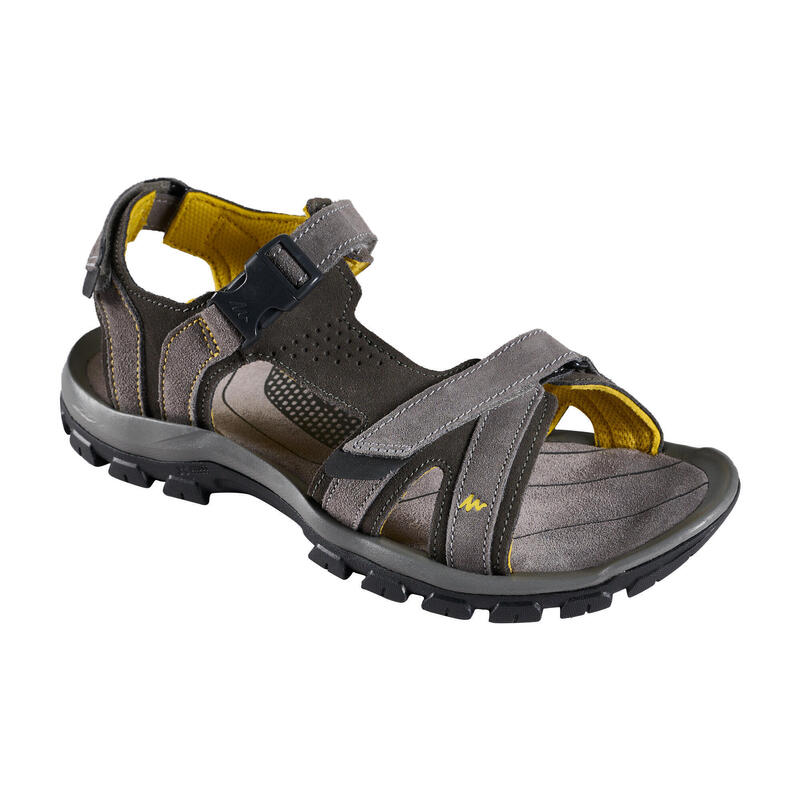 LEATHER HIKING SANDALS - NH120 - GREY - MEN