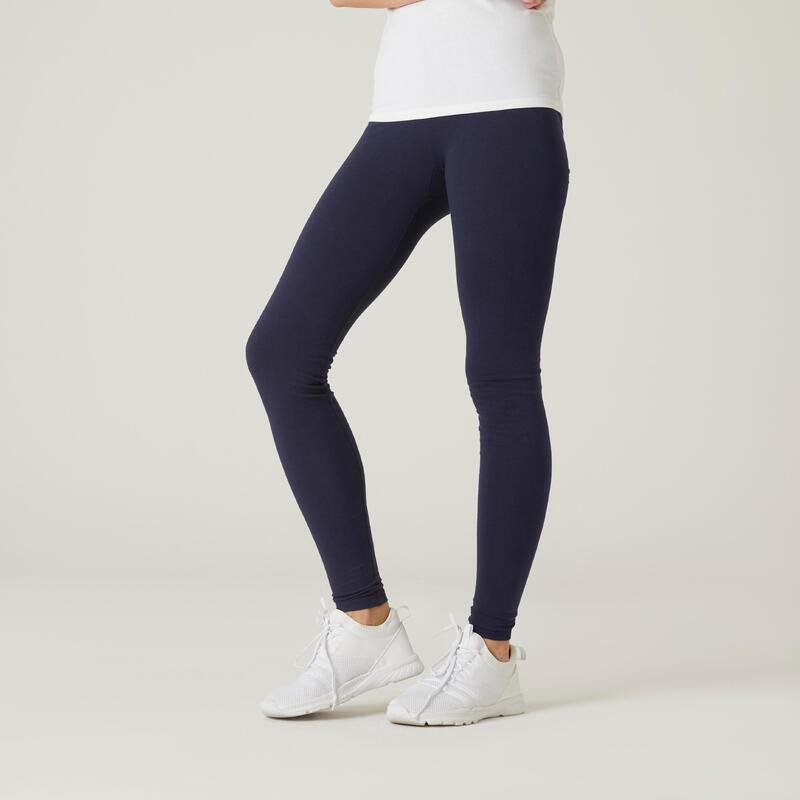 Legging fitness long coton extensible avec poches femme - Fit+ bleu marine
