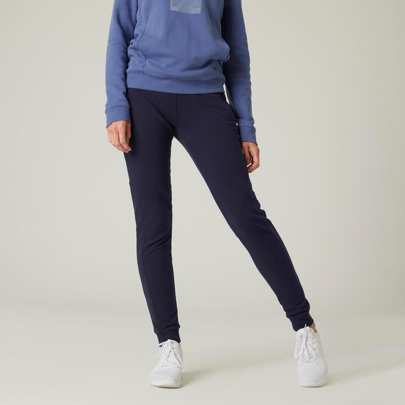 Pantalon jogging chaud Fitness poches zippées Slim Bleu Marine