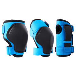 Kids' 2 x 3-Piece Skating Skateboard Scooter Protective Gear 100 - Blue