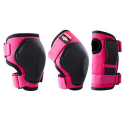 Kids' 2 x 3-Piece Skating Skateboard Scooter Protective Gear 100 - Pink