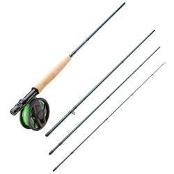 Ensemble canne/moulinet/soie/bas de ligne pour pêcher à la mouche en eau douce