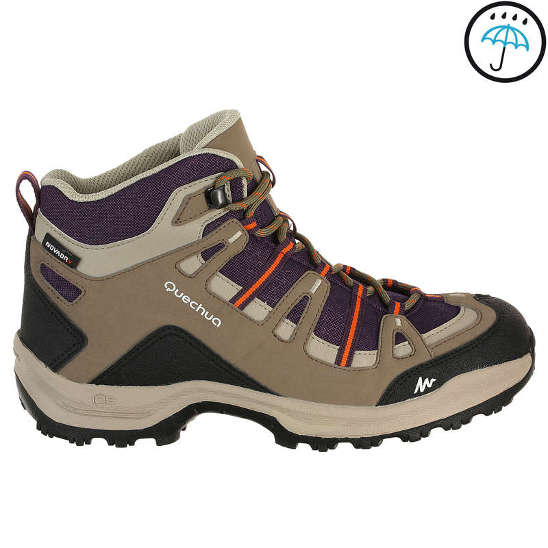 WOMEN NATURE HIKING SHOES - Arpenaz 100 Mid Women's Waterproof Walking Boots - Purple QUECHUA