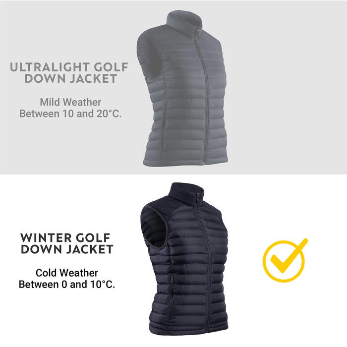 Golf Steppweste warm CW500 Damen marineblau