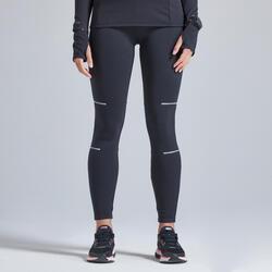Pantaloni running donna KIPRUN WARM neri