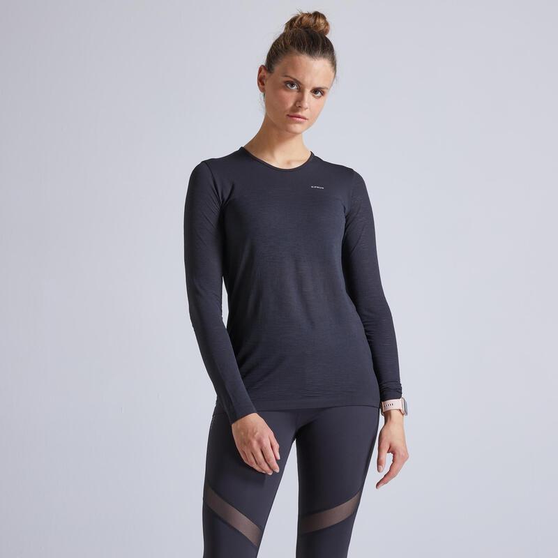 Kiprun Care Women's Running Breathable Long-sleeved T-Shirt - Black