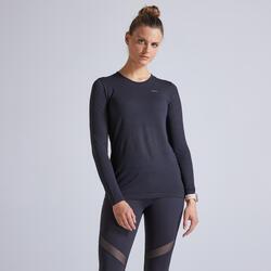 T-shirt manica lunga running donna KIPRUN CARE nera