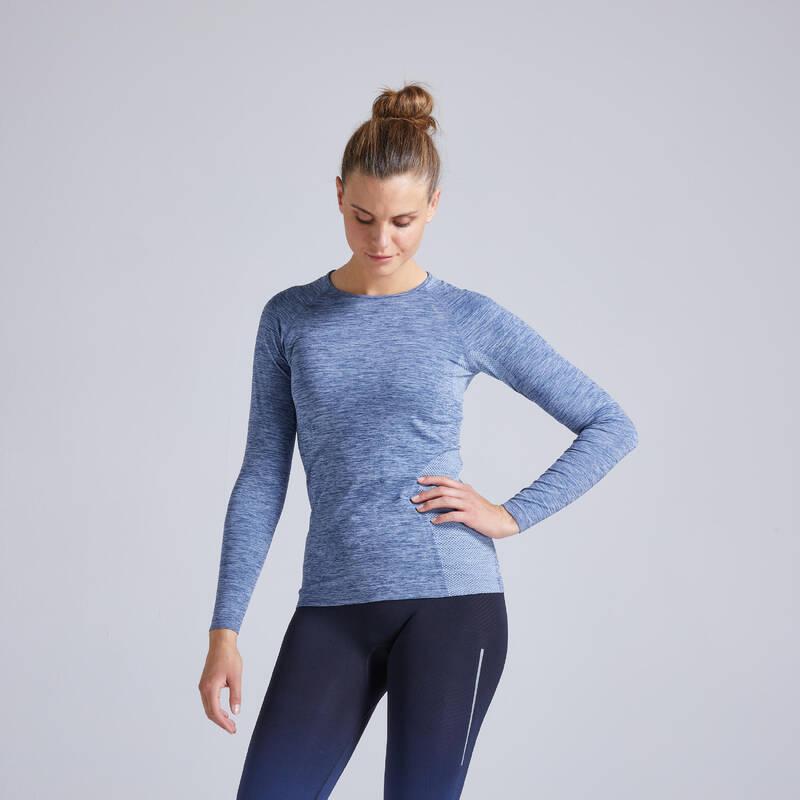 DÁMSKÉ BĚŽECKÉ OBLEČENÍ TEPLÉ/MÍRNÉ POČASÍ Atletika a běh - BĚŽECKÉ TRIČKO SKINCARE  KIPRUN - Běh
