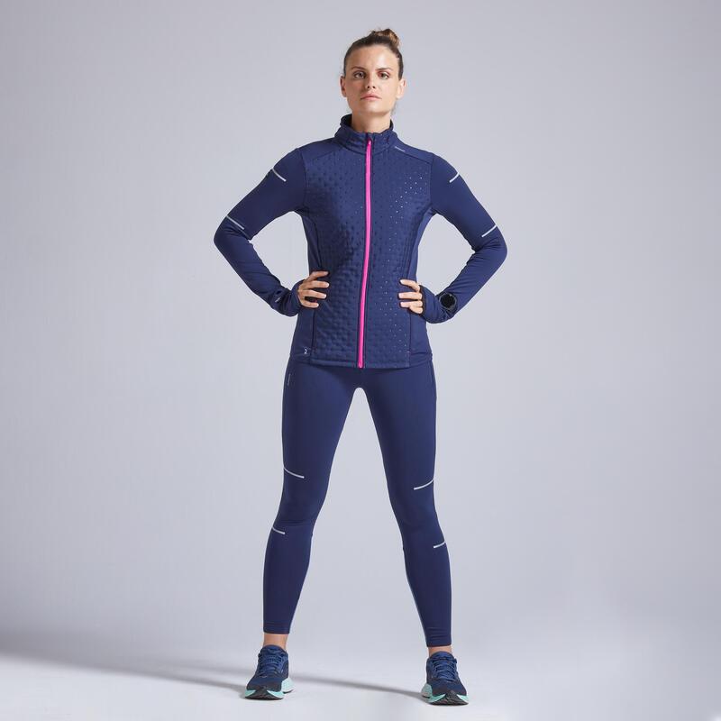 Kiprun Warm Women's Winter Running Warm Jacket - blue pink
