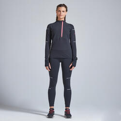 T-shirt running donna KIPRUN WARM REGUL nero-corallo