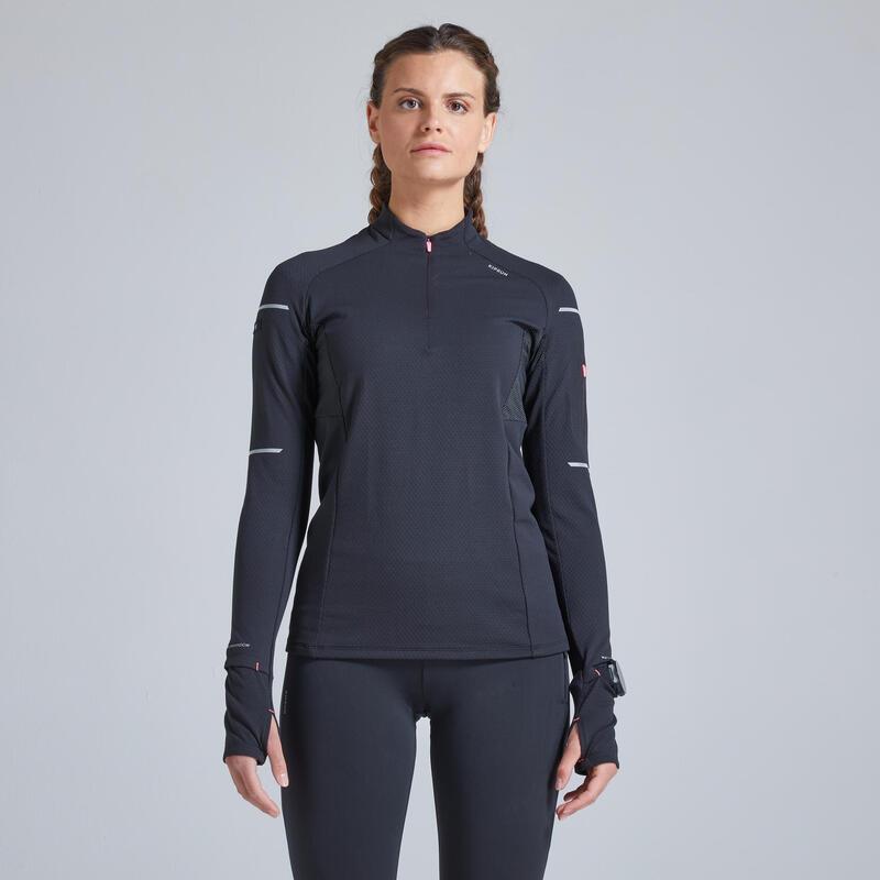 Kiprun Warm Light Women's Running Long-Sleeved Winter T-Shirt - Black/Pink