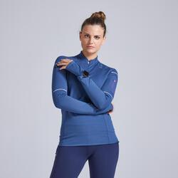 T-shirt running donna KIPRUN WARM LIGHT blu