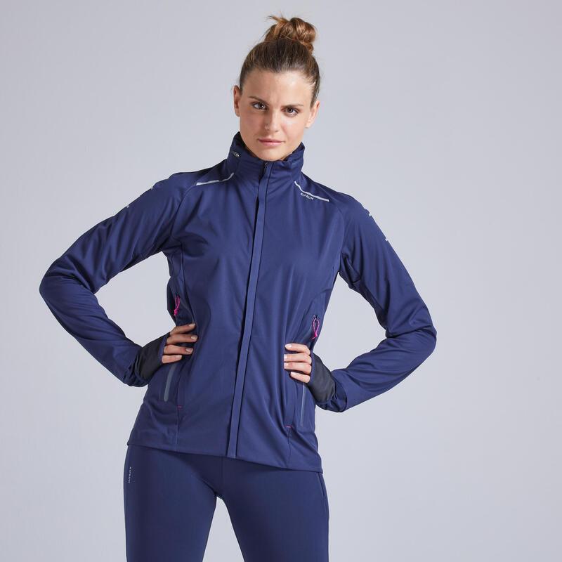 Kiprun Warm Regul Women's Winter Running Windproof Water Repellent Jacket - navy