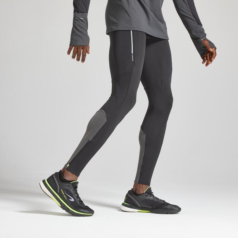 Kiprun Warm Men's Running Tights - Black/Grey
