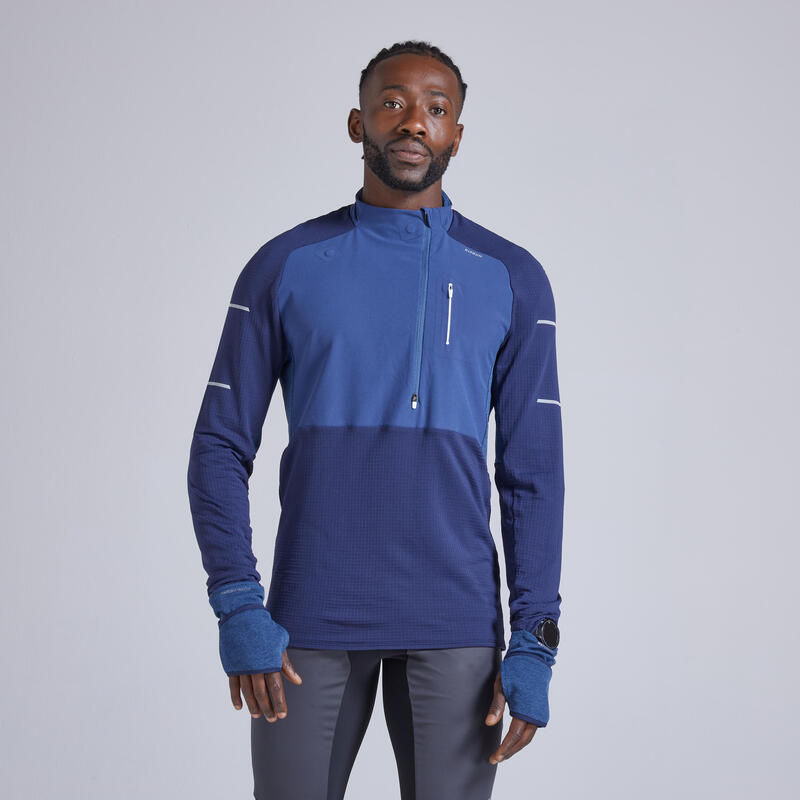 Camiseta Manga Larga Running Kiprun Warm Regul Hombre Azul Invierno