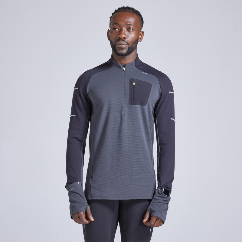 Camiseta Running Kiprun Warm Light Hombre Negro Gris Amarillo Inv. Manga Larga