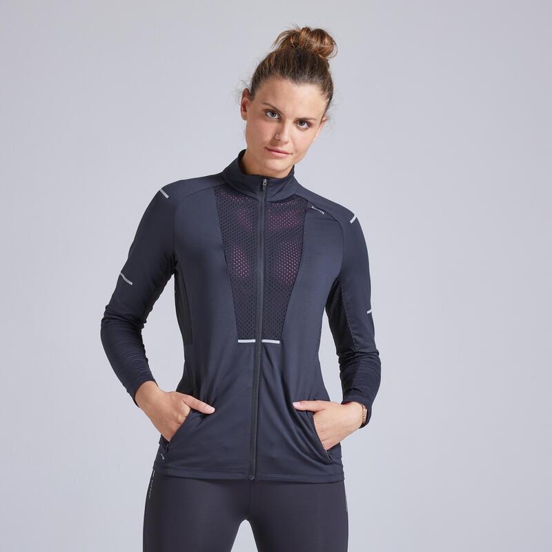 女款跑步透氣外套KIPRUN - 黑色